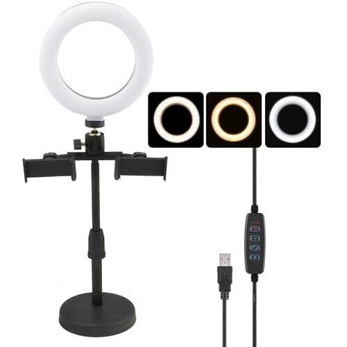 Кольцевая LED лампа 16 см CXB-160A с держател...