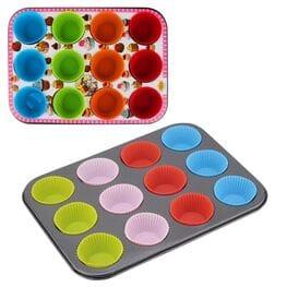 Металлическая форма для кексов с силиконовыми...